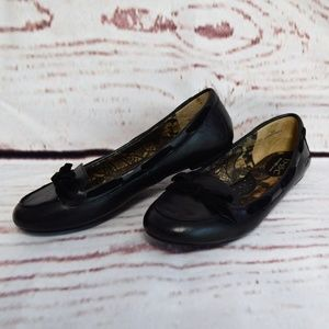 b.o.c. Black Leather Flats With Bow Size 8